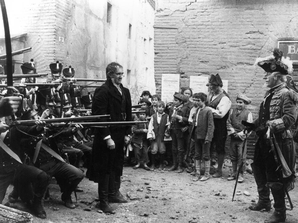 Un momento de 'Las aventuras del barón Munchausen' rodado en Belchite.