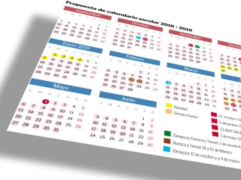 Aragon Calendario Escolar.Calendario Escolar De Aragon Curso 2018 2019 Los Escolares