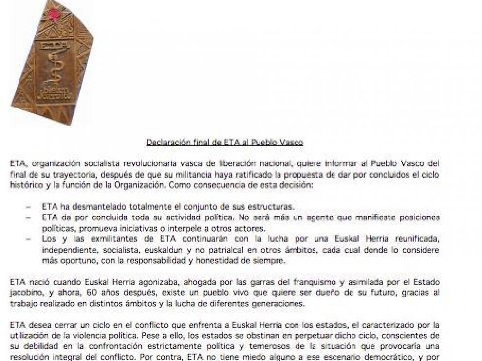 Comunicado de disolución de la banda terrorista ETA