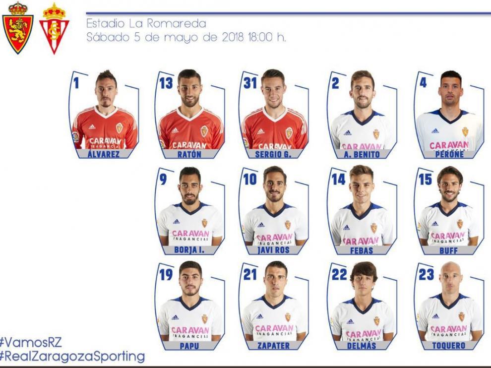 Lista de 19 convocados del Real Zaragoza para jugar este sábado ante el Sporting de Gijón en La Romareda.
