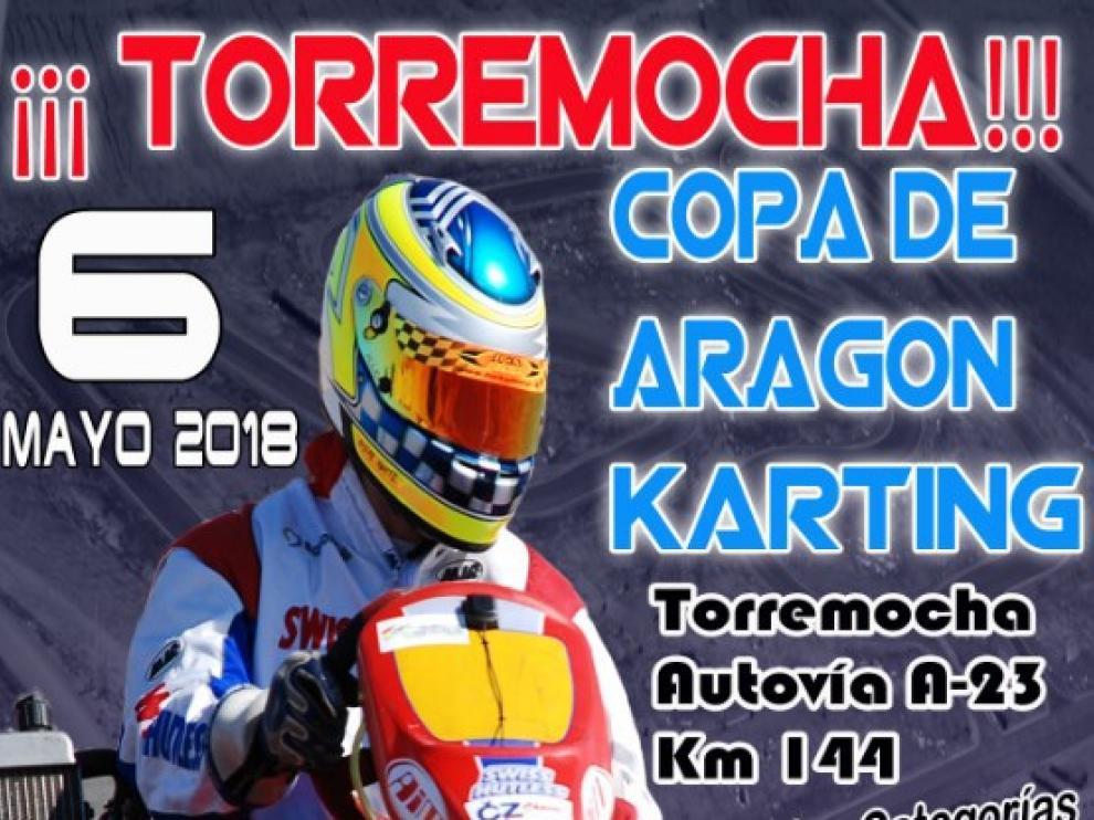 Cartel de la Copa Aragón de Karting Torremocha 2018.