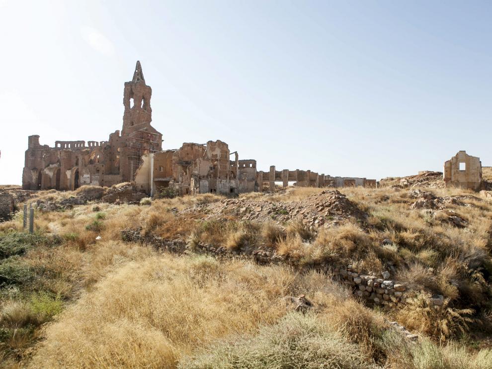 Vista general del Pueblo Viejo de Belchite.