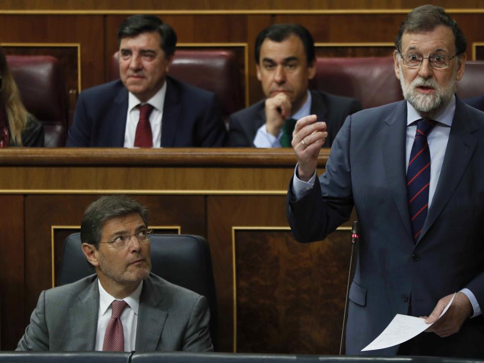 Mariano Rajoy en la sesión de control al Gobierno de este miércoles en el Congreso de los Diputados.