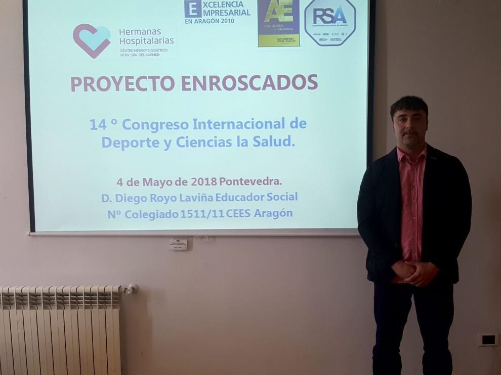 Diego Royo, durante su ponencia en Pontevedra.