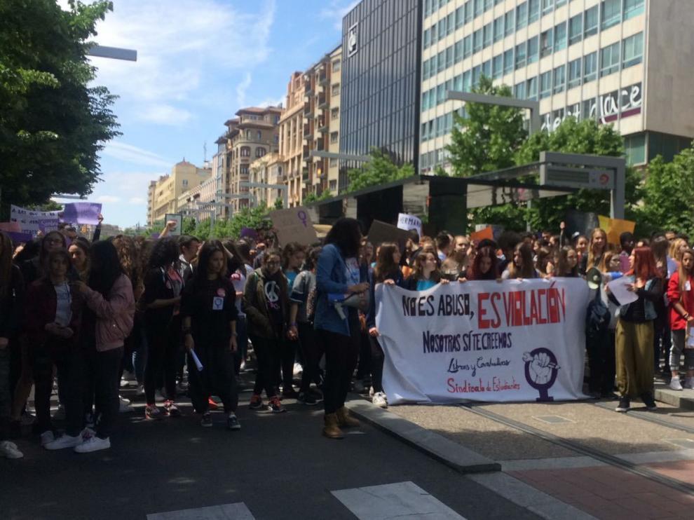 Manifestación en Zaragoza contra la sentencia de La Manada.