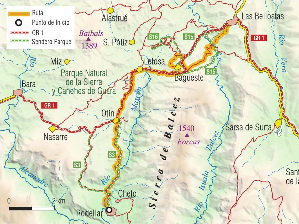 Mapa ruta Las Bellostas Rodellar.
