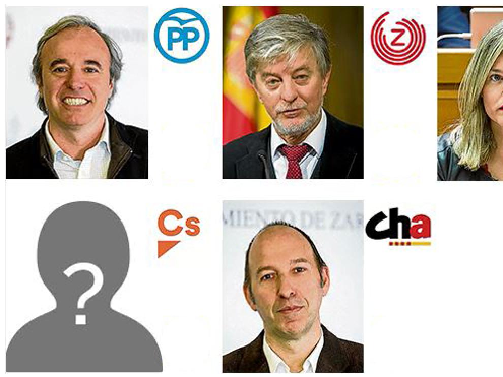 Los principales candidatos a la alcaldía de Zaragoza.
