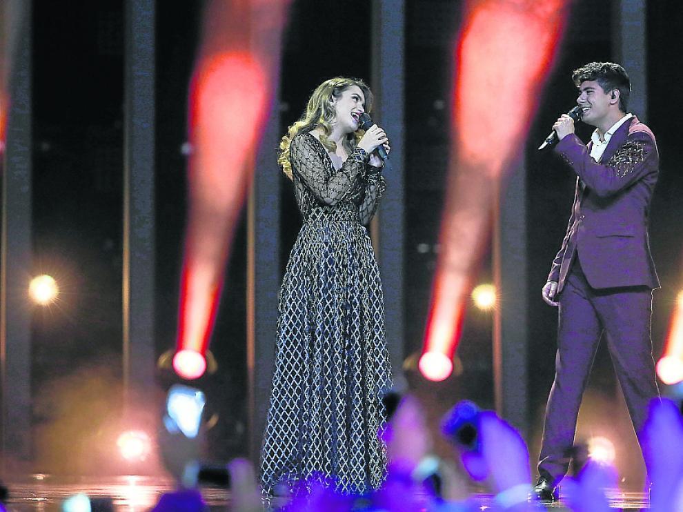 Amaia y Alfred durante la interpretación de 'Tu canción', que no fue bien valorada por el jurado.