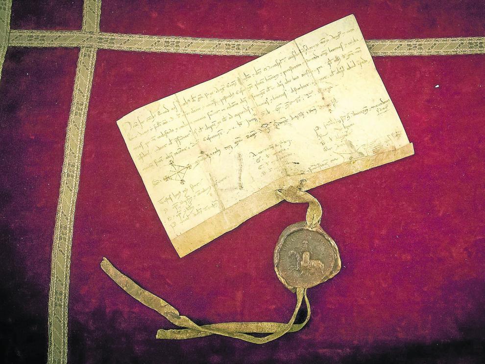 Documento fundacional del Justiciazgo de Casa de Ganaderos, con sello en cera Jaime I, el Conquistador.