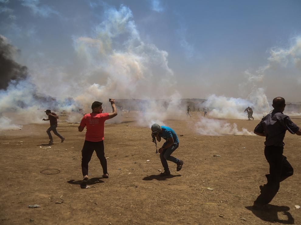 Protestas en Gaza contra el traslado de la embajada de Estados Unidos a Jerusalén.