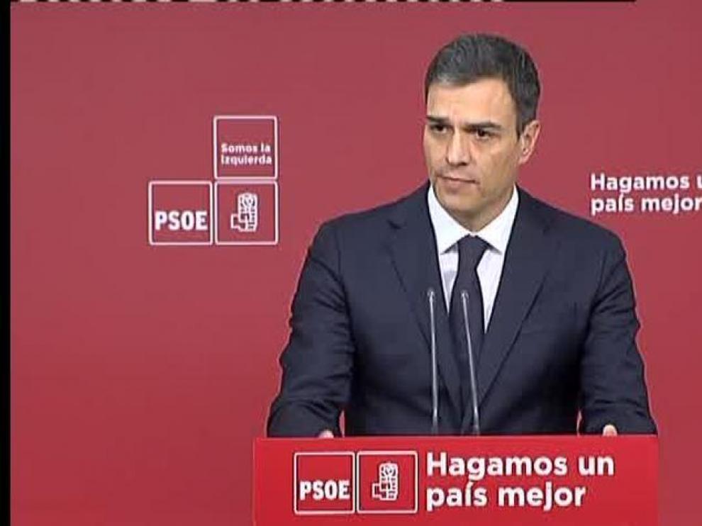 Pedro Sánchez durante la comparecencia tras registrar la moción de censura