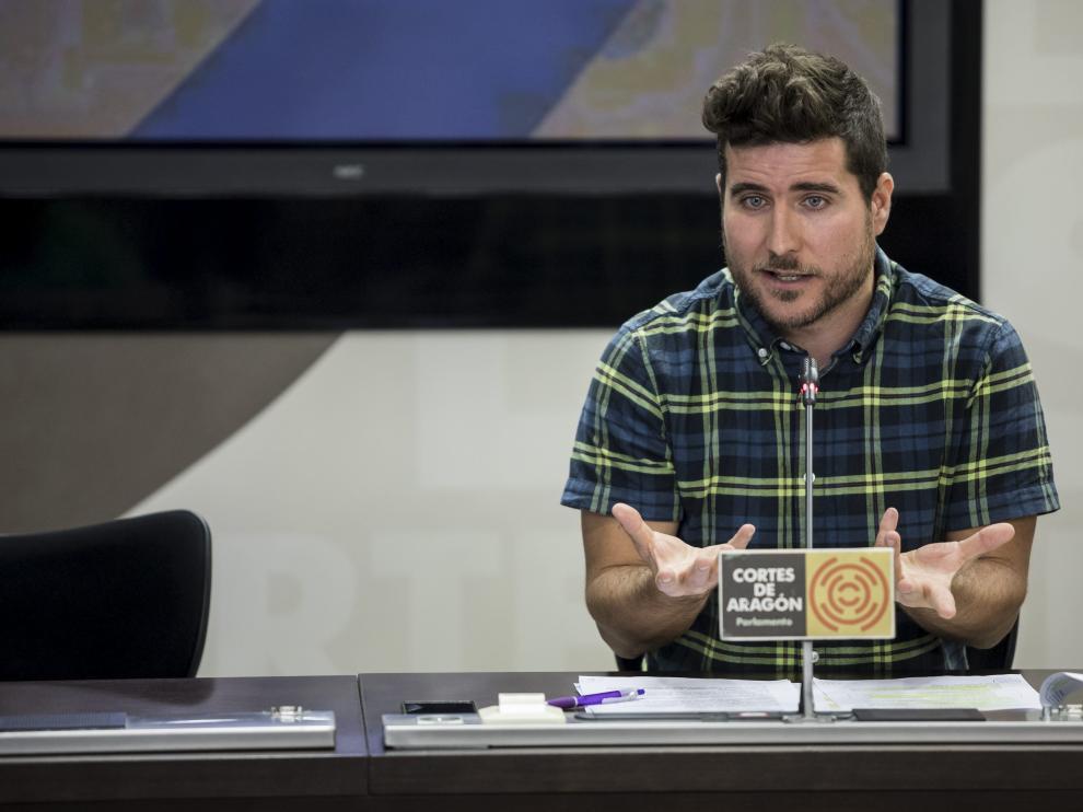 Nacho Escartín, secretario general de Podemos Aragón, este miércoles.