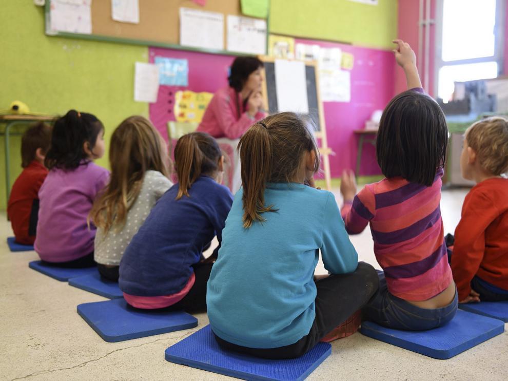 Un aula de Infantil de un colegio público de Huesca.