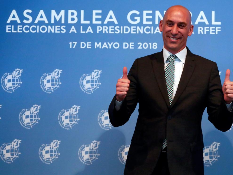 Luis Rubiales después de ser elegido como el nuevo presidente de la Federación Española de Fútbol.