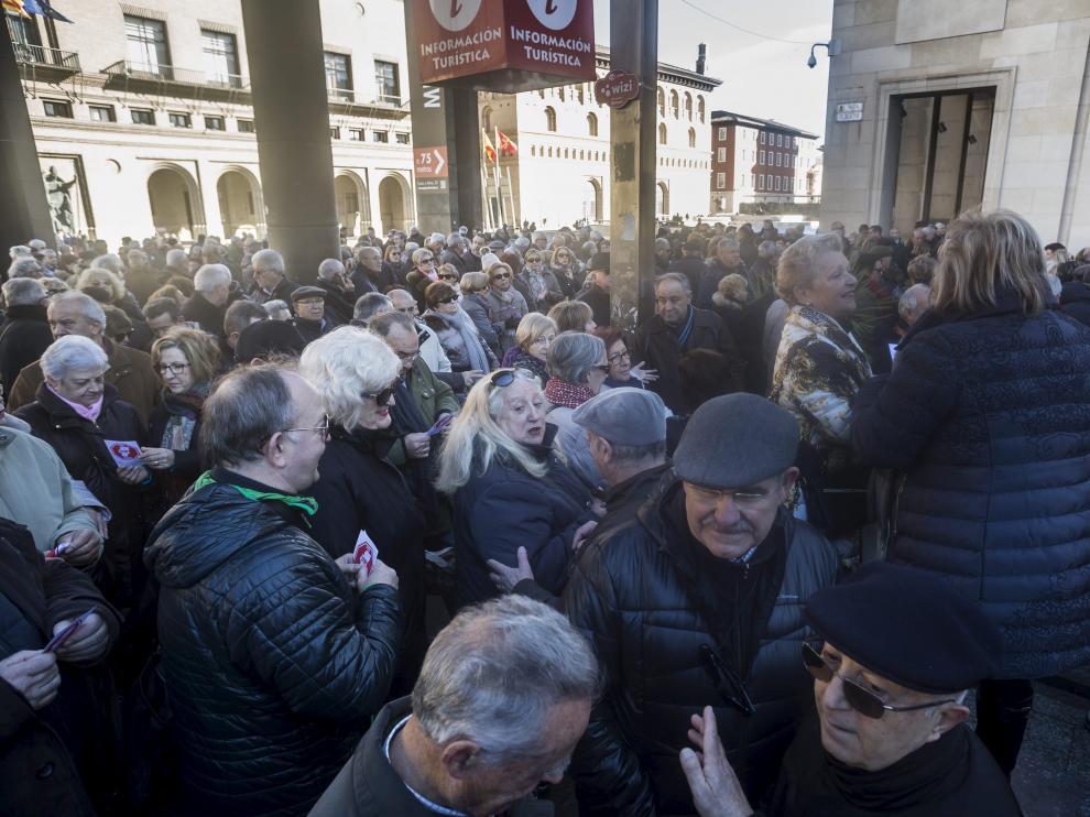 Protesta de jubilados en defensa del sistema público de pensiones en enero en Zaragoza