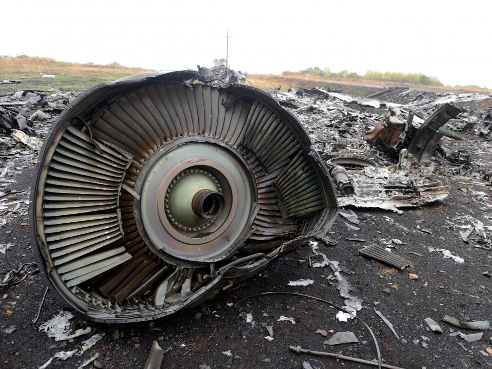 Parte del aparato derribado en Ucrania en 2014.