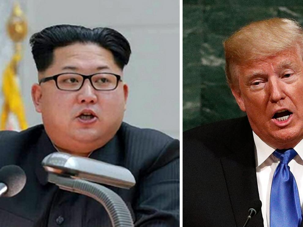 Combo de fotos del líder norcoreano Kim Jong-un y el presidente de Estados Unidos, Donald Trump.