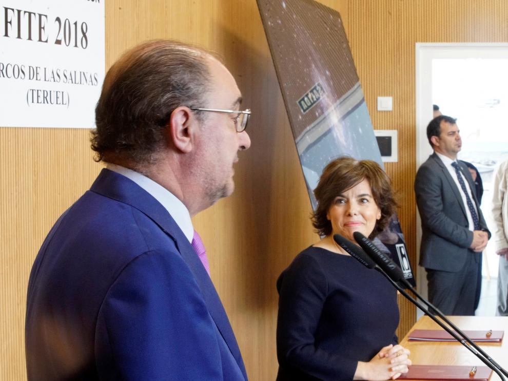 Sáenz de Santamaría y Lambán en la presentación del FITE