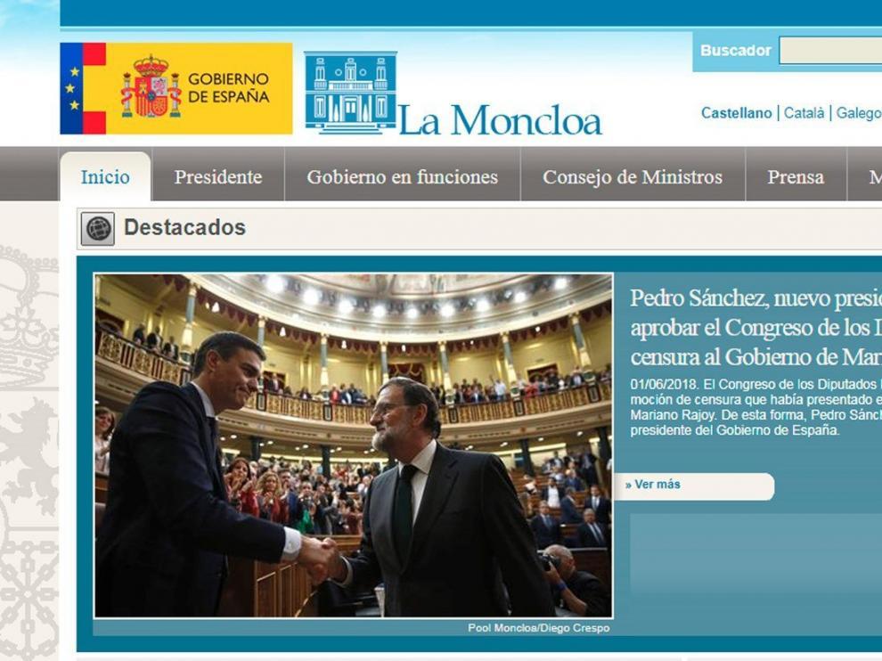Moncloa actualiza su página web tras la moción de censura