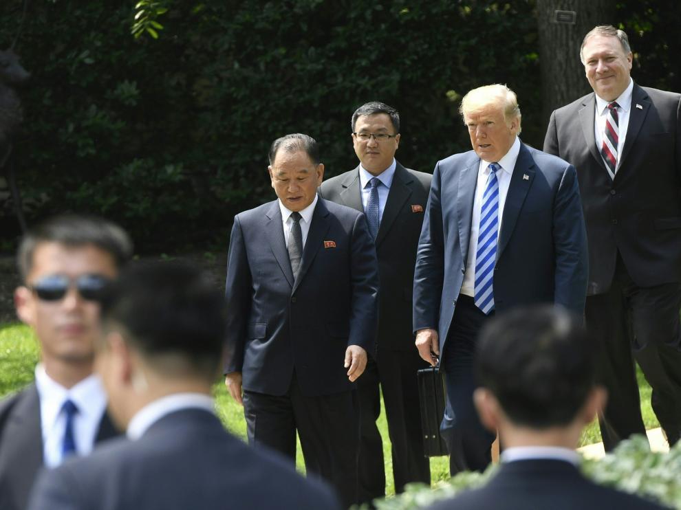 Trump, este viernes, junto al número dos norcoreano, en la Casa Blanca.