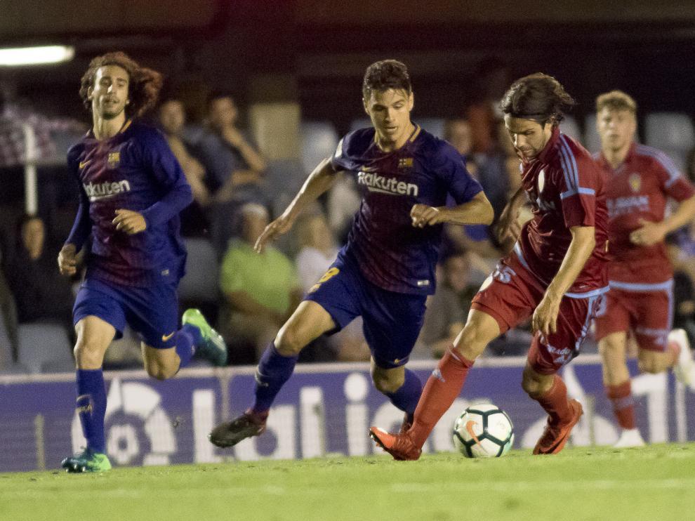 Partido del Barcelona B contra el Real Zaragoza el pasado sábado.
