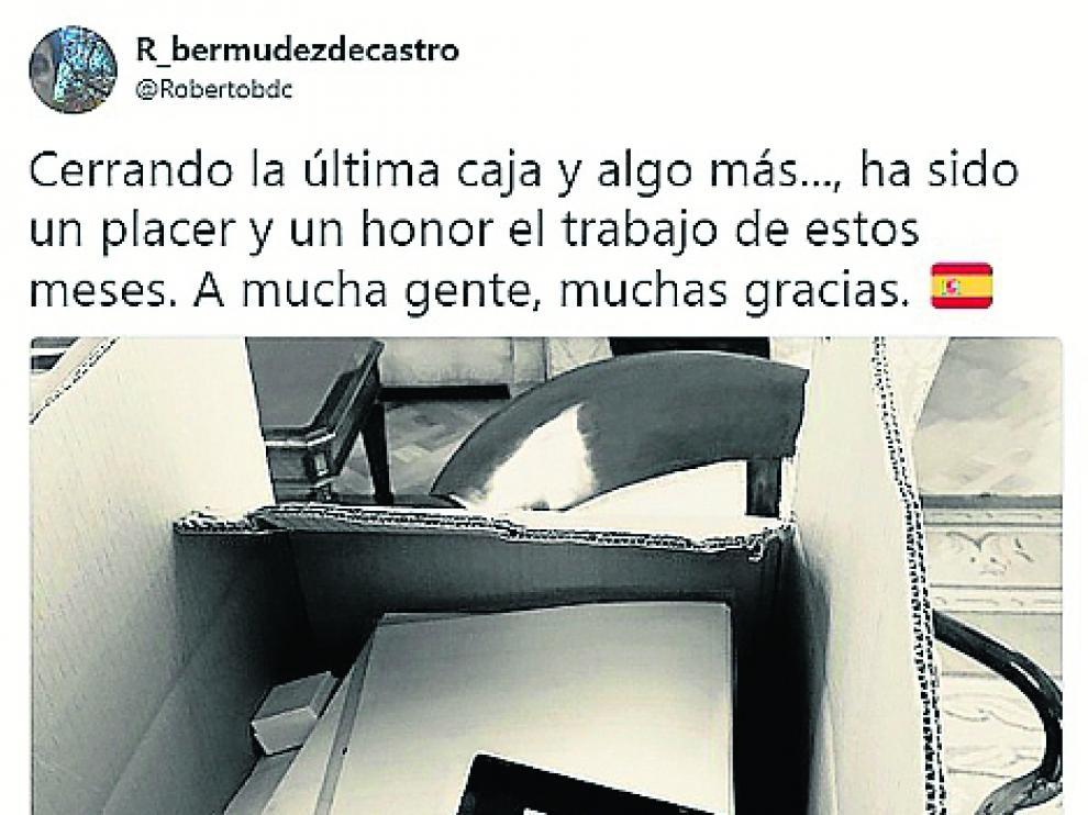 El tuit de Roberto Bermúdez de Castro.