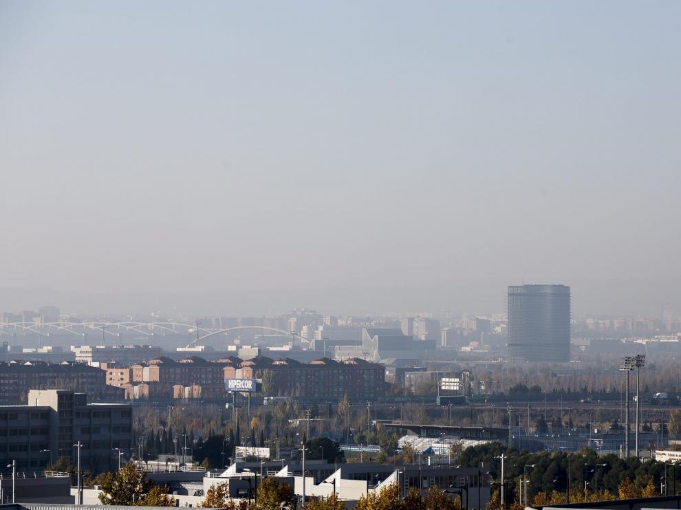 Partículas contaminantes en suspensión sobre Zaragoza.