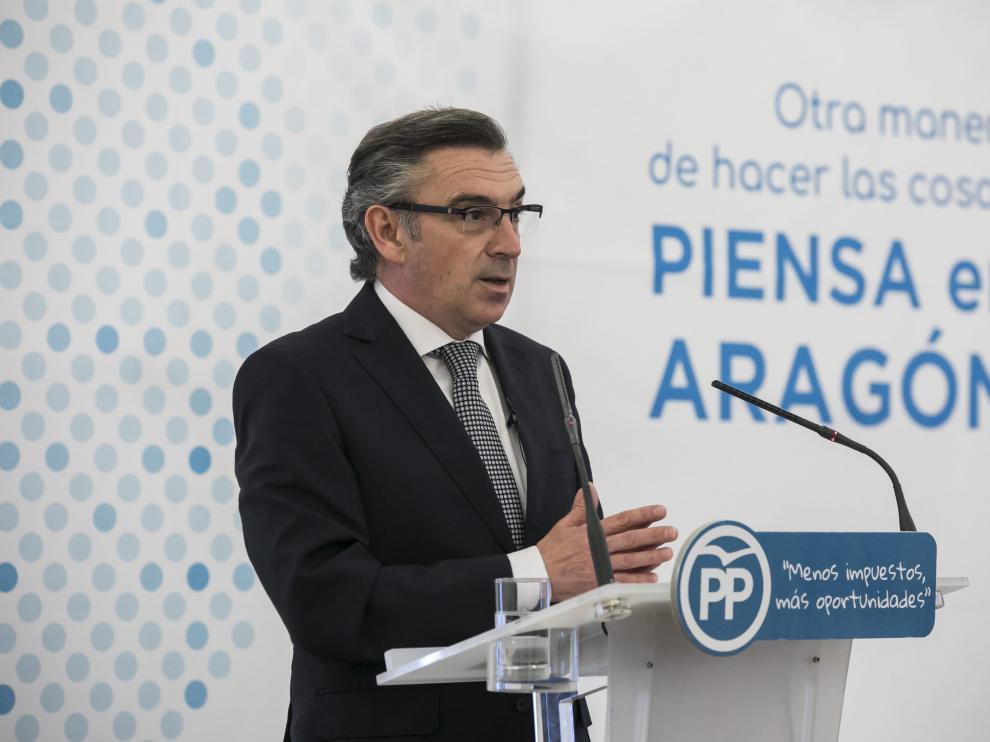 Luis María Beamonte, presidente del PP-Aragón, en un acto de partido.