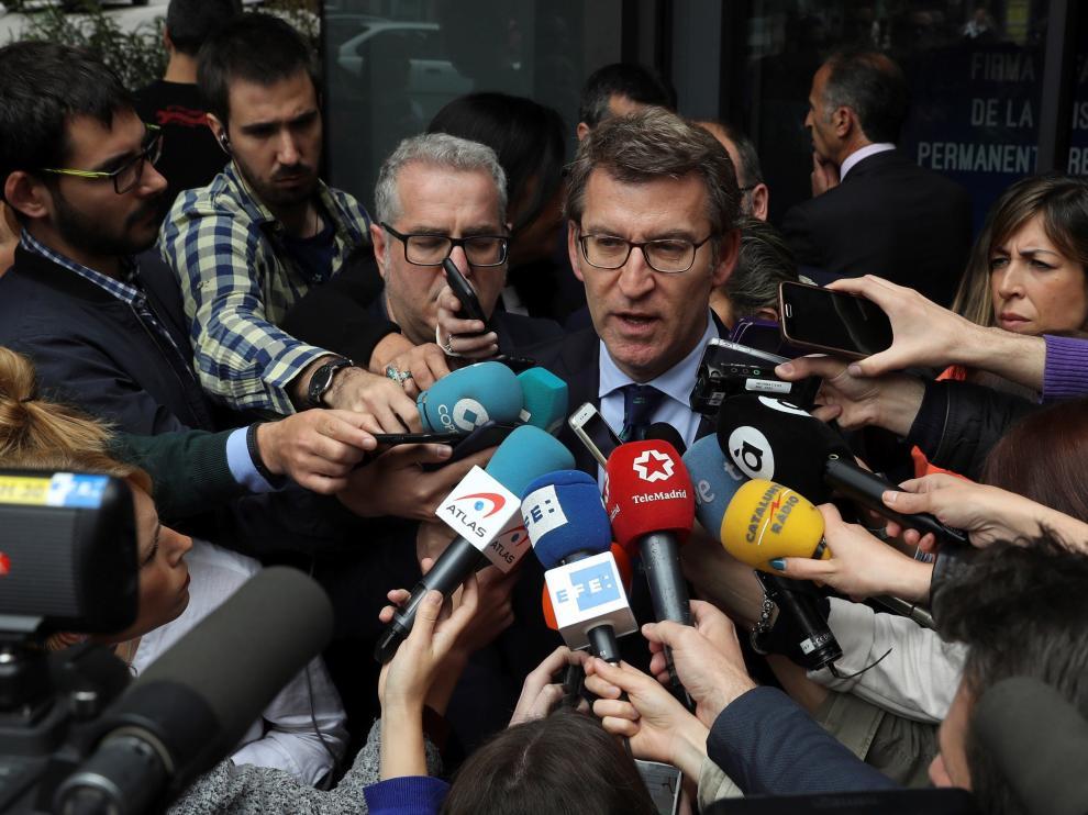 Alberto Núñez Feijóo comparece ante los medios tras el Comité Ejecutivo Nacional del PP.