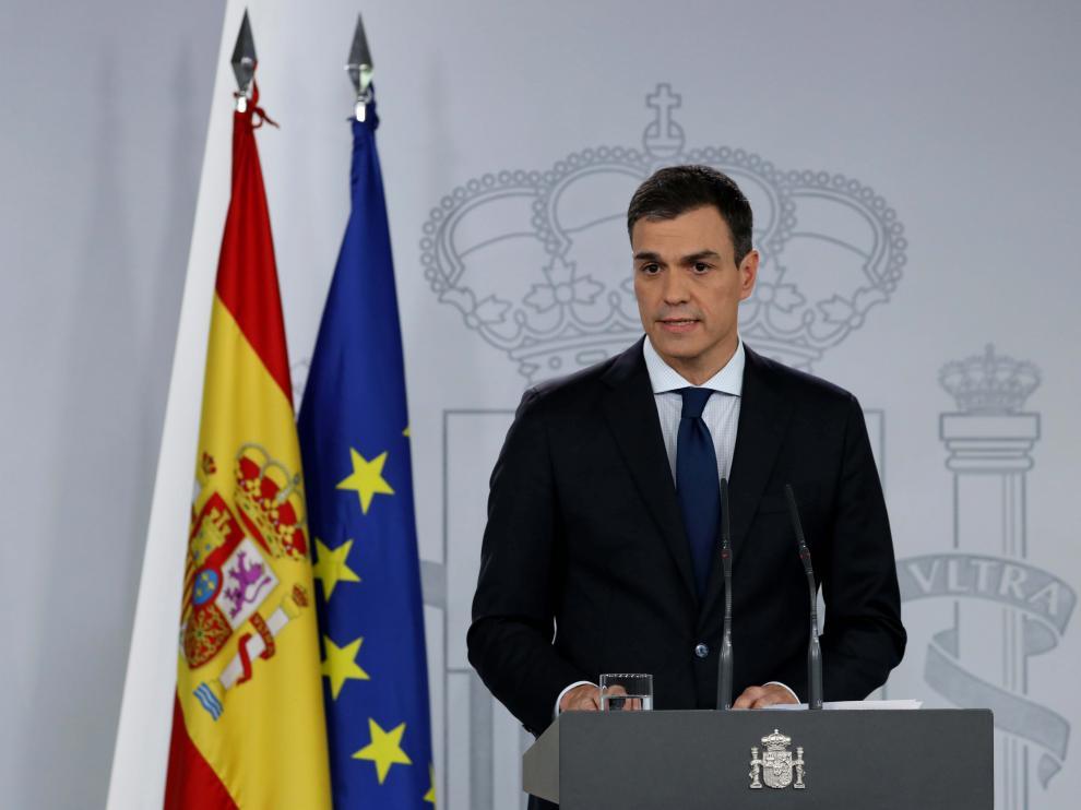 Pedro Sánchez, en la conferencia en la que ha dado a conocer a los miembros de su Ejecutivo.