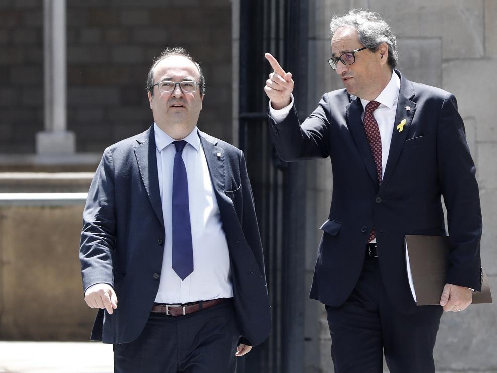 El presidente catalán Quim Torra y Miquel Iceta, en la ronda de contactos iniciada este viernes por Torra.