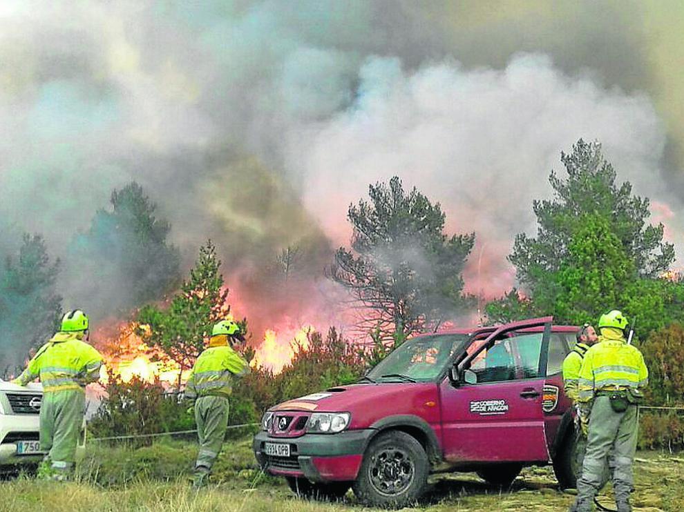 Incendio ocurrido en Torre de Ribota (Huesca) el año pasado.