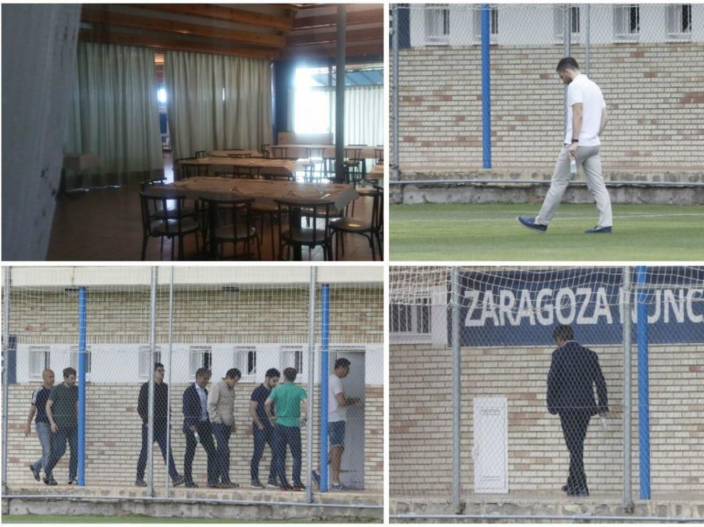 Cuatro imágenes de la mañana del adiós en la Ciudad Deportiva. El comedor, cerrado. Lalo Arantegui, solo, cabizbajo sobre el césped. Natxo González, acompañado por todo el mundo, entra en el vestuario del equipo para despedirse y, finalmente, se marcha lloroso en solitario.