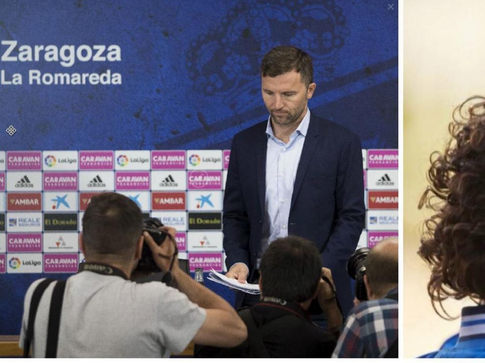Lalo Arantegui (izda.), este martes al inicio de su rueda de prensa. Imanol Idiakez (dcha.), próximo entrenador del Real Zaragoza.