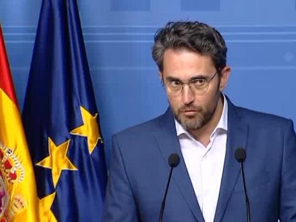 Máxim Huertaen el momento de anunciar su dimisión como ministro de Cultura y Deporte