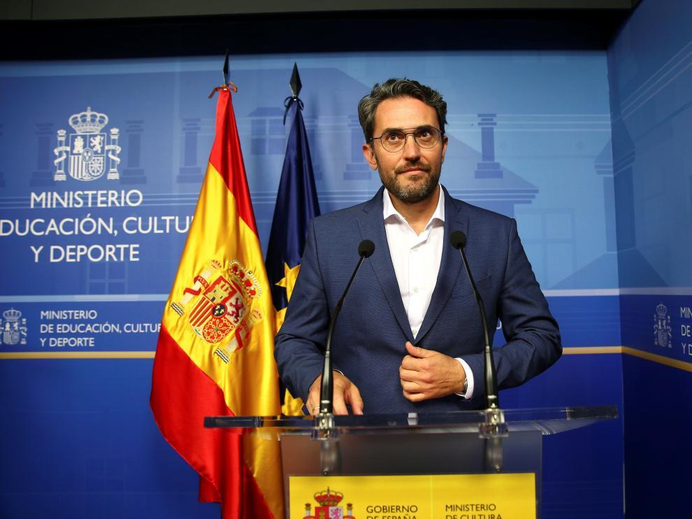 Màxim Huerta durante la comparecencia en la que anunció su dimisión.