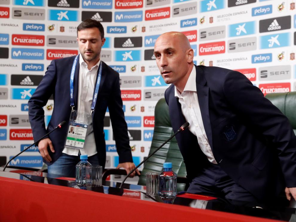 Luis Rubiales, este miércoles en la rueda de prensa en la que ha anunciado la salida de Lopetegui.