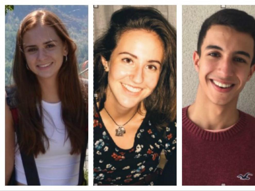 Nuria Casale, la mejor nota de Aragón; Pilar Gil, segunda mejor nota de selectividad en Aragón; Othman Lameche, mejor calificación de Teruel, y Sofía Dominguez (Huesca).
