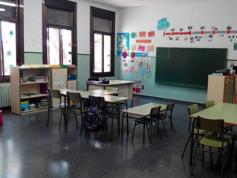 Colegio de Villanueva de Sijena, con tres alumnos este curso y de momento solo dos para el próximo.