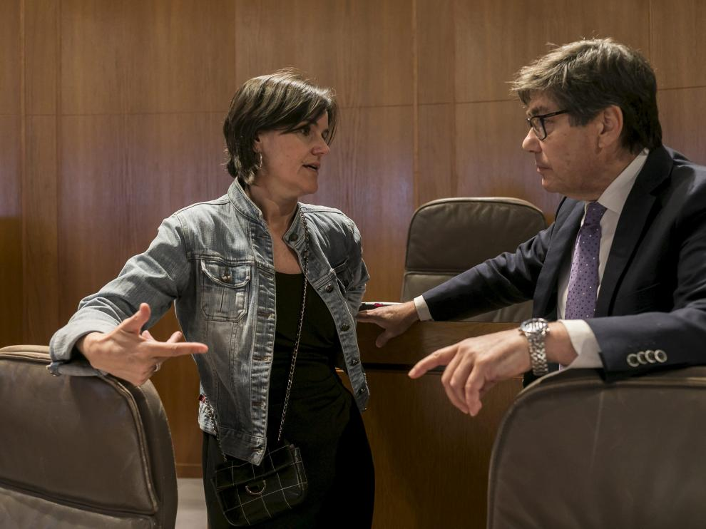 Los aragonesistas Elena Allué y Arturo Aliaga, este viernes, en las Cortes.