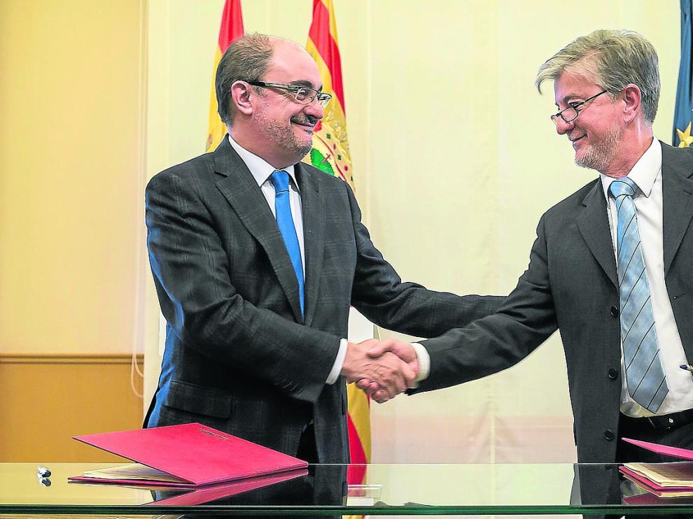 Javier Lambán y Pedro Santisteve.