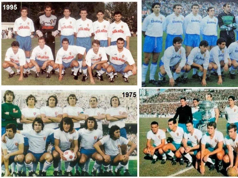 Cuatro formaciones del Real Zaragoza, en diferentes momentos de la historia, con el pantalón y los detalles azules celestes.