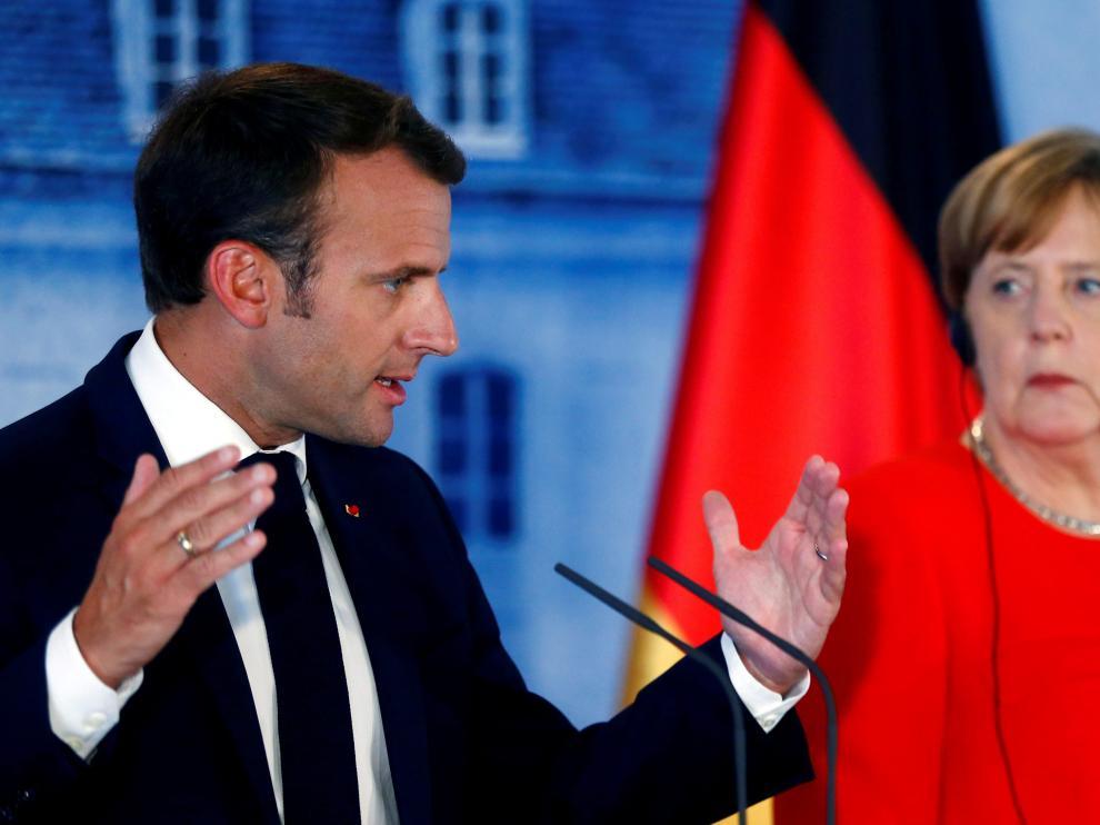 Emmanuel Macron y Angela Merkel, en su encuentro el Palacio de Meseberg.
