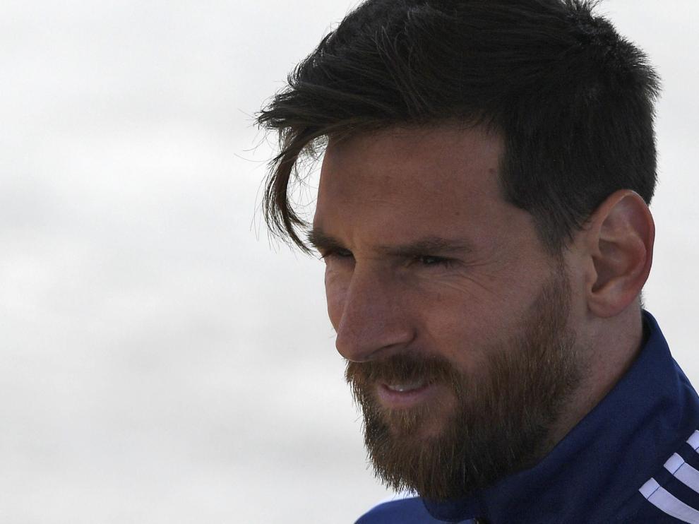 Leo Messi, durante un entrenamiento con la selección argentina en Moscú.