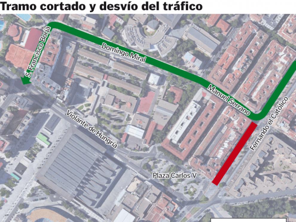 Afecta al tramo entre la calle Manuel Serrano Sanz y la Plaza del Emperador Carlos,en sentido salida de la ciudad.