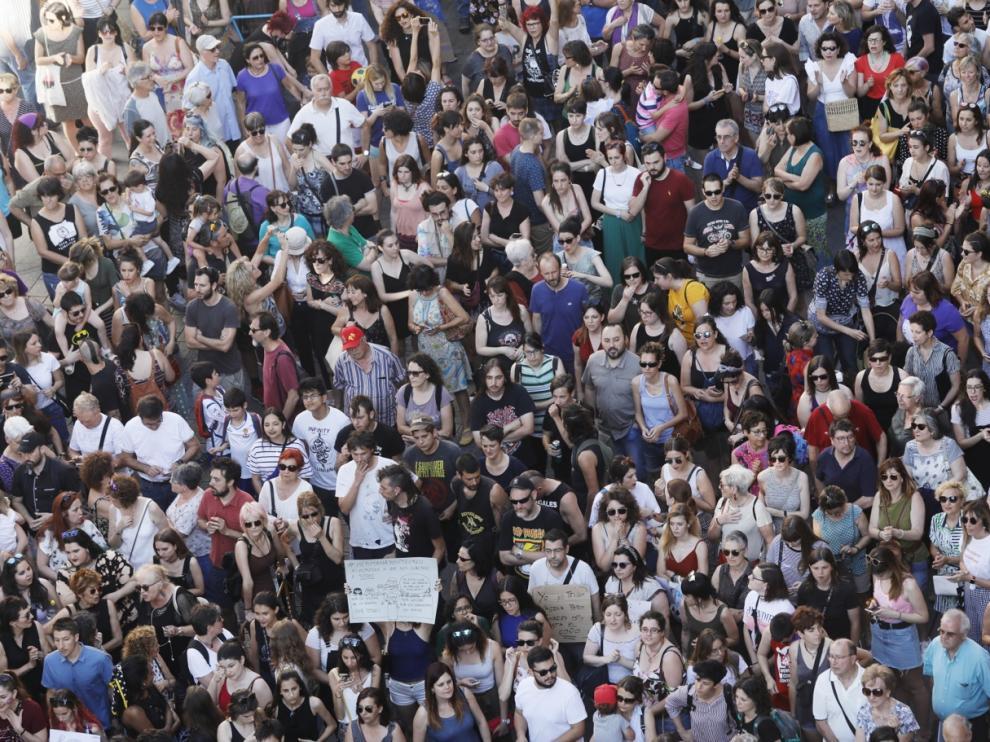 Manifestación contra la puesta en libertad de La Manada en Zaragoza