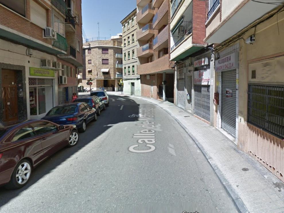 La calle de Marcos Zapata, en Las Delicias, donde se produjo el crimen machista de este lunes.