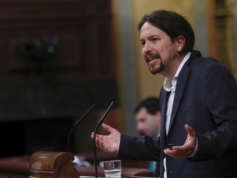 El líder de Podemos, Pablo Iglesias, durante su intervención en el Congreso de los Diputados este martes.