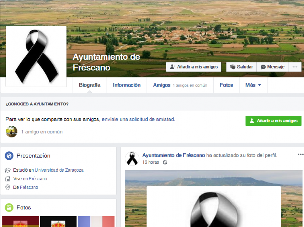 El Ayuntamiento de Fréscano ha actualizado su portada en Facebook con un lazo negro.
