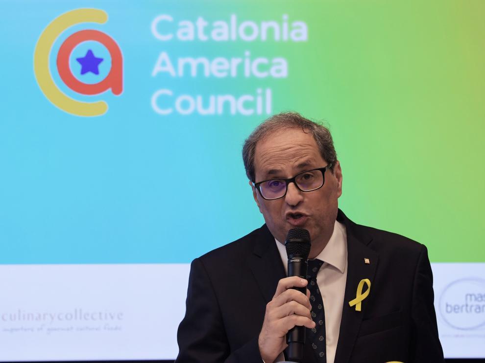 El presidente de la Generalitat, Quim Torra, durante un acto en Washington.